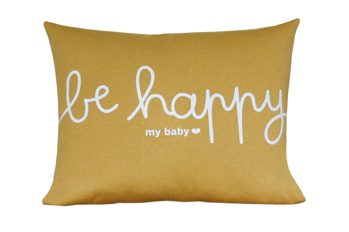 Coussin Be Happy Jaune Moutarde Jolis M Mes
