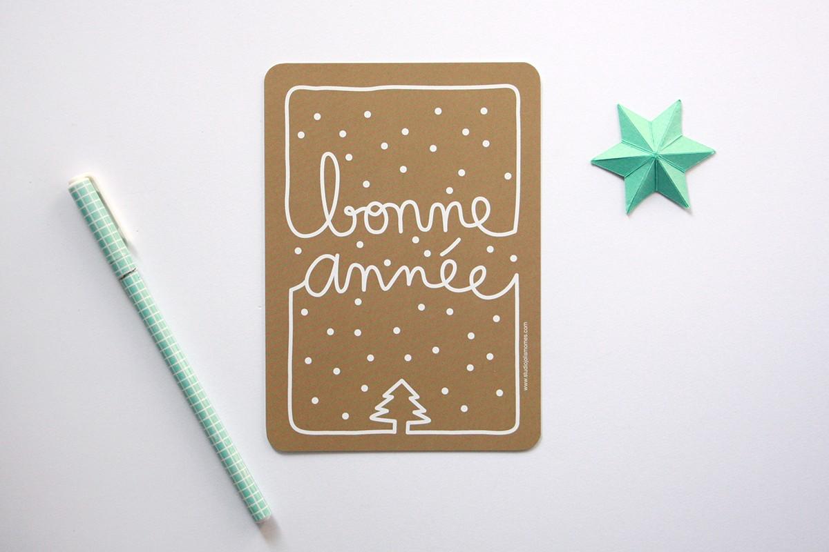 Lot de 5 cartes Bonne année