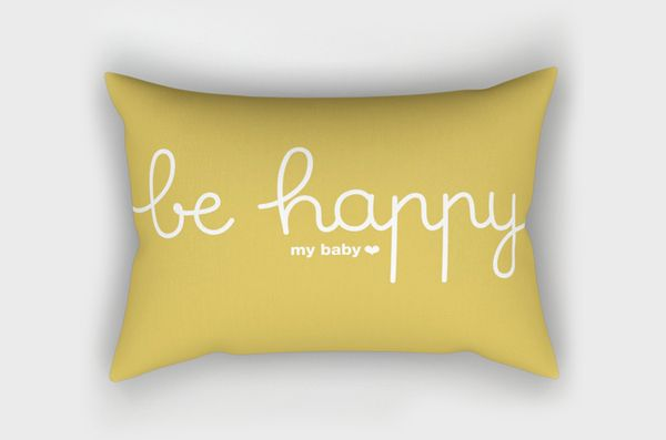 Coussin Be Happy *moutarde*