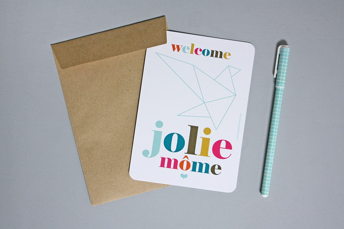 welcome origami post card jolis m212mes